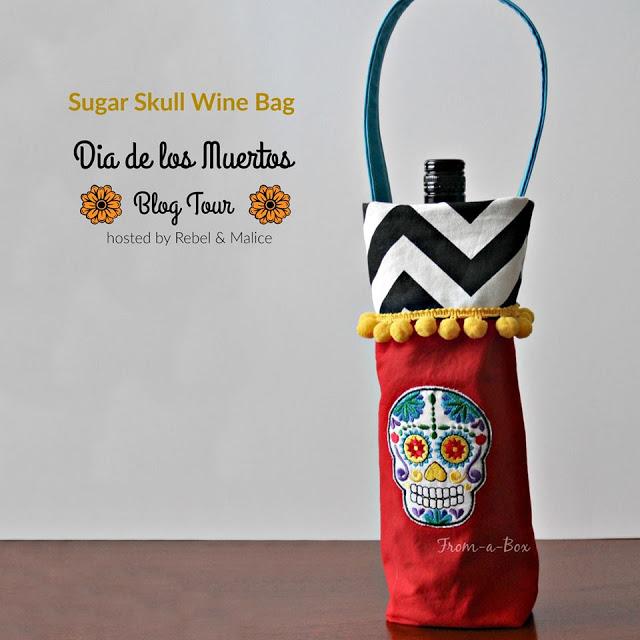 from a box, dia de los muertos, wine bag tutorial